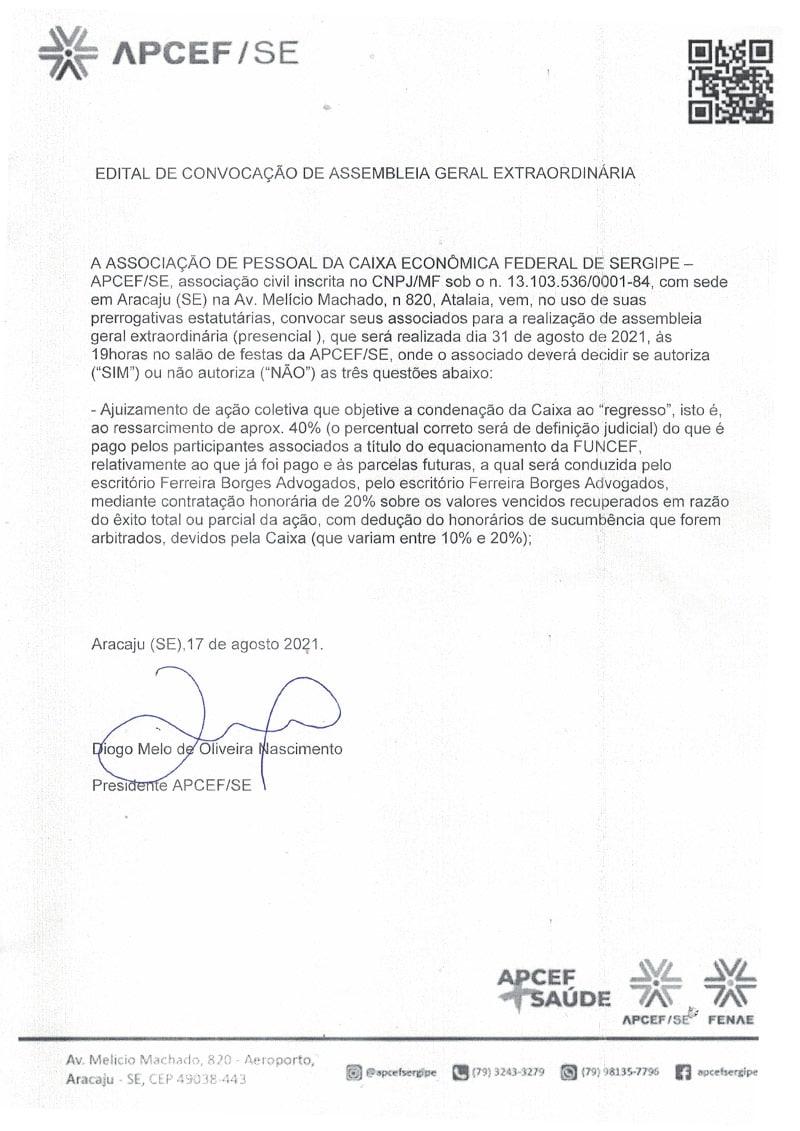 Edital de Convocação Extraordinária - APCEF SERGIPE - 17 de agosto 2021